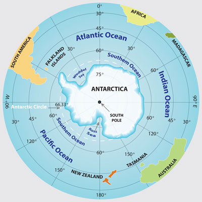 Where is Antarctica? World map with Antarctica and the Southern Ocean surrounded by the Atlantic, Indian, and Pacific Oceans.