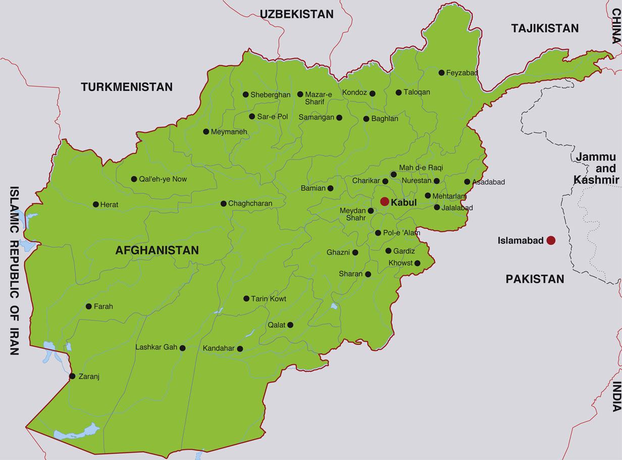 Afghanistan map showing kabul the afghan capital and other afghan