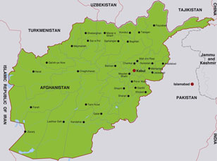 Afghanistan map, showing Kabul, the Afghan capital, and other Afghan cities
