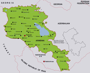 Armenia map, showing Yerevan, its capital city, and parts of adjoining Caucasus nations