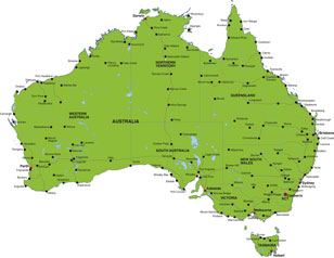 Australia map, showing Canberra and other Australian cities