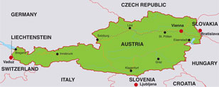 Austria map, showing Vienna, the capital city of Austria, and other major Austrian cities