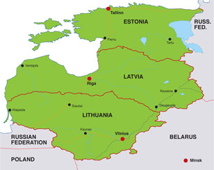 Baltic States map, showing Estonia, Latvia, and Lithuania