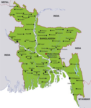 Bangladesh map, showing Dhaka, its capital city, as well as adjoining areas of south Asia