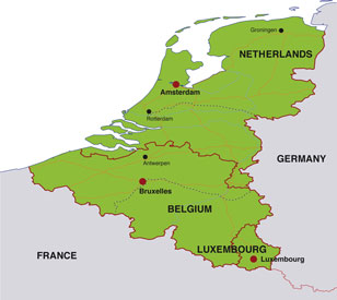 Benelux States map, showing Belgium, Netherlands, and Luxembourg