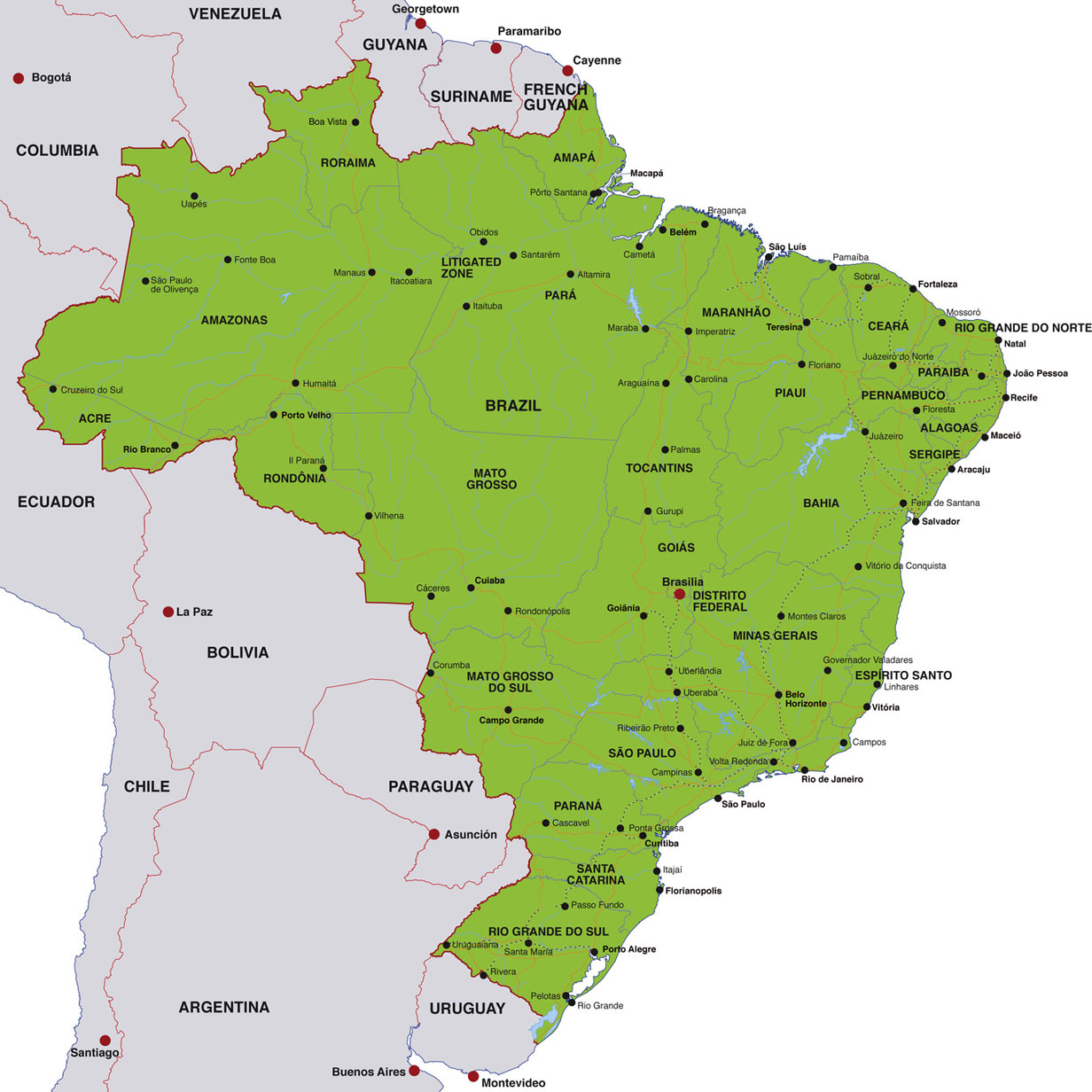 Brazil map, showing Brasilia, the Brazilian capital, and other