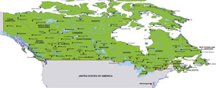 Canada map, showing Ottawa, the Canadian capital, and other Canadian cities