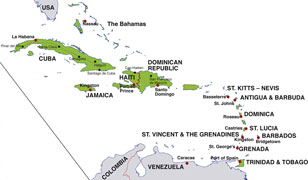 Caribbean map, showing Caribbean nations and their capital cities