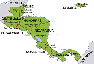 Central America map, showing Central American countries and their capital cities