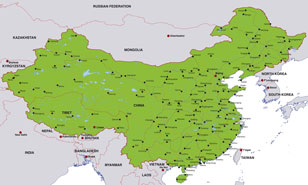 China map, showing Beijing, the Chinese capital, and other Chinese cities