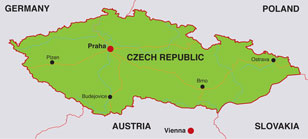 Czech map, showing Prague, its capital city, as well as other cities in the Czech Republic