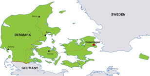 Denmark map, showing Copenhagen, its capital city, and other Danish cities