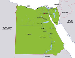 Egypt map, showing Cairo, the Egyptian capital, and other Egyptian cities