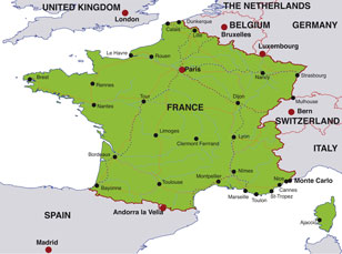 France map, showing Paris, the French capital, and other French cities