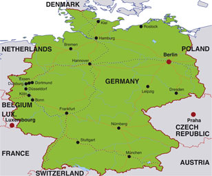 Germany map, showing Berlin, the German capital, and other German cities