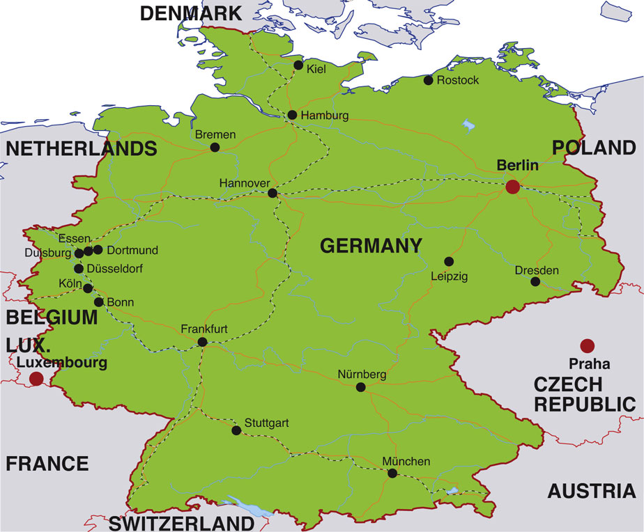 Germany Map Blank Political With Cities Of: Map Of Germany With States And Capitals At Infoasik.co