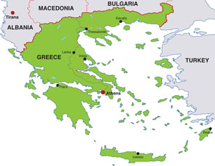 Greece map, showing Athens, the capital city, and other Greek cities