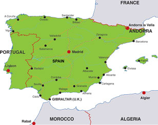 Iberian Peninsula map, showing Spain, Portugal, and Andorra