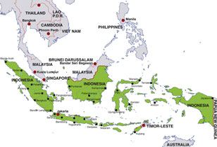 Indonesia map, showing Jakarta, the capital city, plus Brunei, Malaysia, Philippines, Singapore, and Timor-Leste