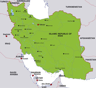 Iran map, showing Tehran, the Irani capital, and other Irani cities