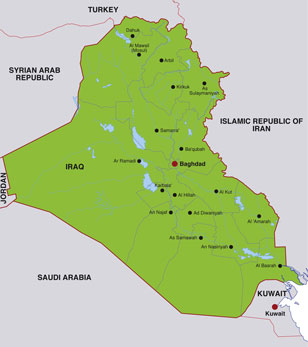 Iraq map, showing Baghdad, the Iraqi capital, and other Iraqi cities
