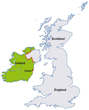 Ireland map, showing Dublin, the Irish capital