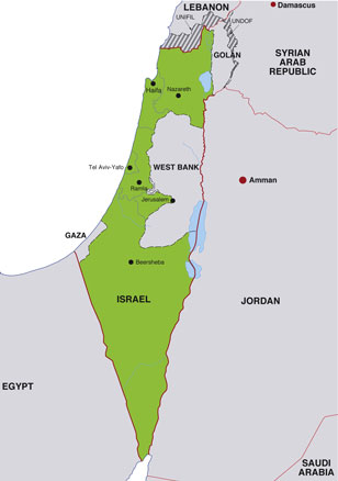 Israel map, showing Tel Aviv, the Israeli capital, and other Israeli cities