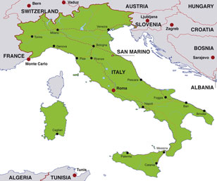 Italy map, showing Rome, the Italian capital, and other Italian cities