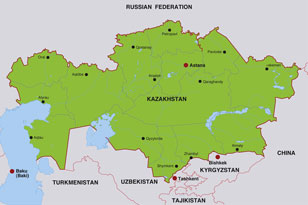 Kazakhstan map, showing Astana, the Kazakh capital city, and parts of other Central Asian nations