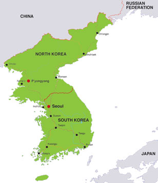 Korean Peninsula map, showing North Korea and South Korea