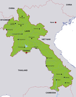 Laos map, showing Vientane, the capital city of Laos, and adjacent areas of the Southeast Asian peninsula