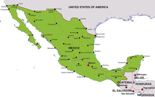 Mexico map, showing Mexico City, the Mexican capital, and other Mexican cities