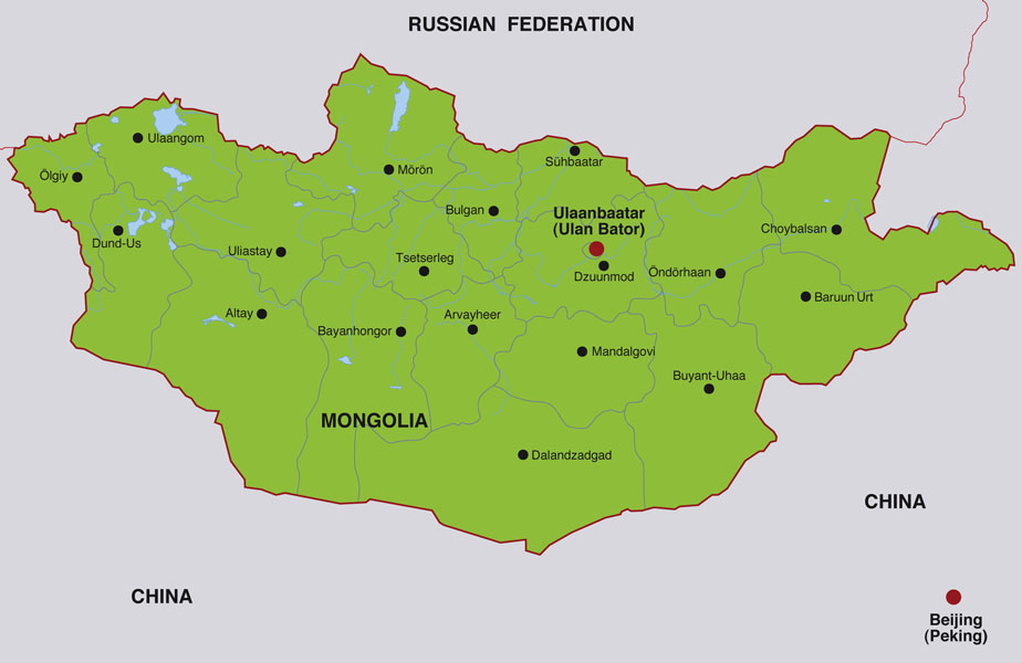 mongolia map showing ulaanbaatar the capital city and other mongolian cities