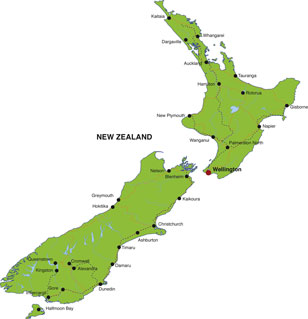 New Zealand map, showing Wellington, the capital city, and other New Zealand cities