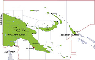 Papua New Guinea map, showing Port Moresby, the PNG capital, and other PNG cities