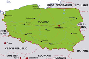 Poland map, showing Warsaw, the capital city of Poland, and parts of adjoining eastern European nations
