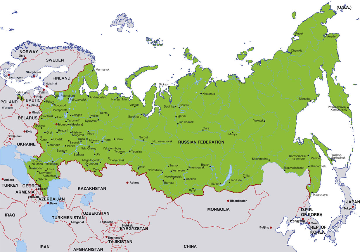 Russia map, showing moscow, the russian capital, and other russian