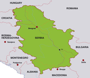 Serbia map, showing Belgrade (Beograd), the Serbian capital, and portions of other Balkan countries