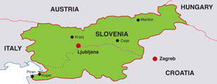Slovenia map, showing Ljubljana, its capital city, and parts of adjacent countries