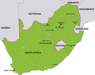 South Africa map, showing Pretoria, the South African capital, and other South African cities