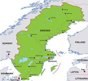 Sweden map, showing Stockholm, the capital city of Sweden, and parts of adjacent Scandinavian countries