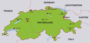 Switzerland map, showing Berne, the capital city, and other major Swiss cities