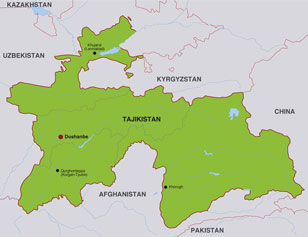 Tajikistan map, showing Dushanbe, the capital city, and parts of adjoining nations in Central Asia