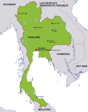 Thailand map, showing Bangkok, the capital city of Thailand, and adjacent areas of Southeast Asia
