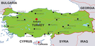 Turkey map, showing Ankara, the Turkish capital, and other Turkish cities