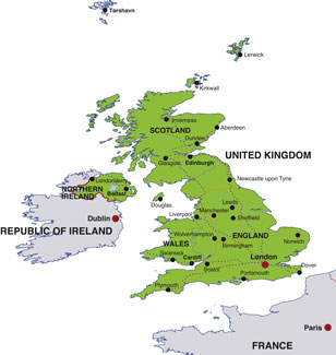 United Kingdom map, showing London, the UK capital, and other UK cities