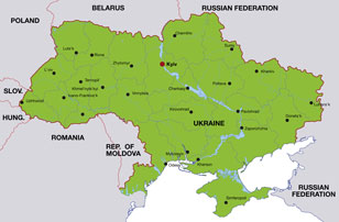 Ukraine map, showing Kiev, its capital city, and other Ukrainian cities