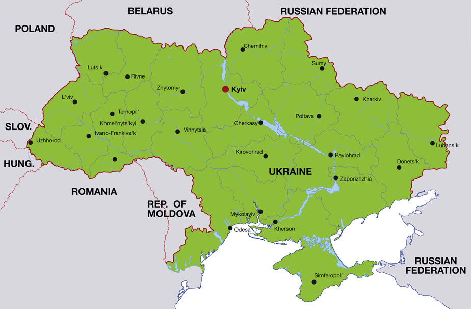 ukraine map showing kiev its capital city and other ukrainian cities